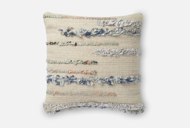 Accent Pillow-Magnolia Home Frayed Stripes Beige/Multi 18X18 By Joanna Gaines - 360