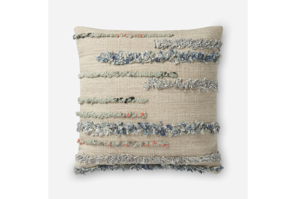 Accent Pillow-Magnolia Home Frayed Stripes Beige/Multi 22X22 By Joanna Gaines