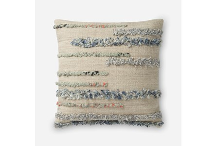 Accent Pillow-Magnolia Home Frayed Stripes Beige/Multi 22X22 By Joanna Gaines - Main