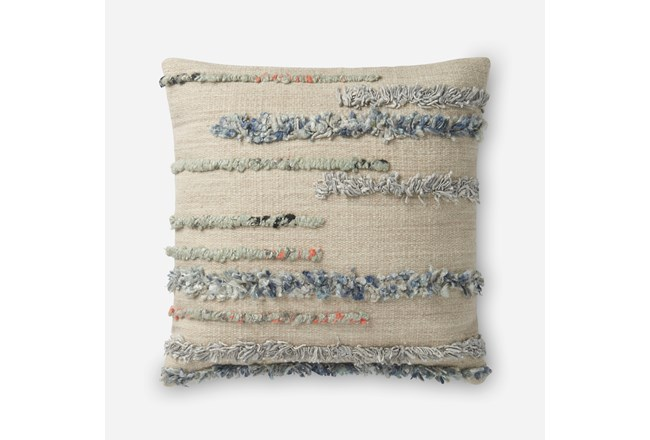 Accent Pillow-Magnolia Home Frayed Stripes Beige/Multi 22X22 By Joanna Gaines - 360