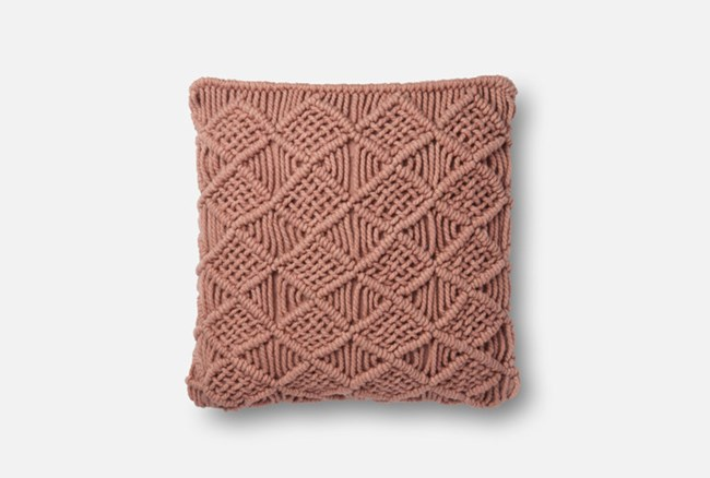 Accent Pillow-Magnolia Home Macrame Blush 18X18 By Joanna Gaines - 360