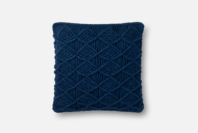 Accent Pillow-Magnolia Home Macrame Navy 18X18 By Joanna Gaines - 360