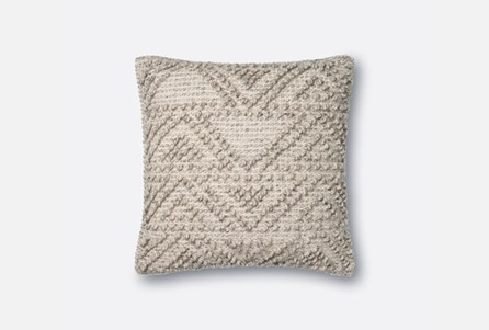 Accent Pillow-Magnolia Home Knotted Zig Zag Grey 18X18 By Joanna Gaines