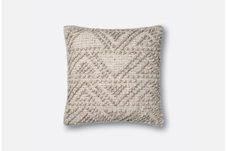 Accent Pillow-Magnolia Home Knotted Zig Zag Grey 18X18 By Joanna Gaines - Main