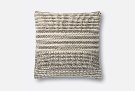 Accent Pillow-Magnolia Home Knotted Stripes Grey 22X22 By Joanna Gaines