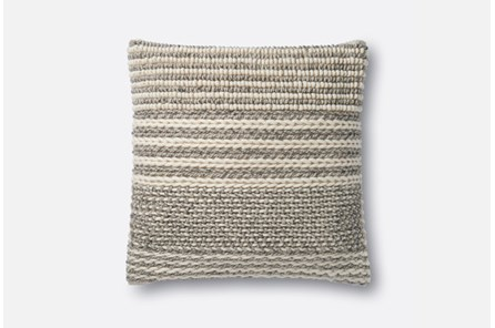 Accent Pillow-Magnolia Home Knotted Stripes Grey 22X22 By Joanna Gaines - Main