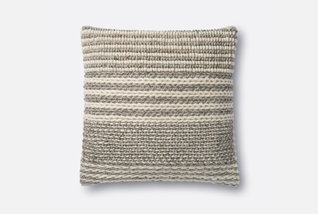 Accent Pillow-Magnolia Home Knotted Stripes Grey 22X22 By Joanna Gaines - 360