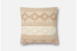 Accent Pillow-Magnolia Home Beige/Ivory Diamond Stripes 22X22 By Joanna Gaines