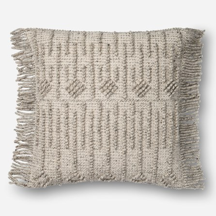 Accent Pillow-Magnolia Home Side Fringe Grey 22X22 By Joanna Gaines