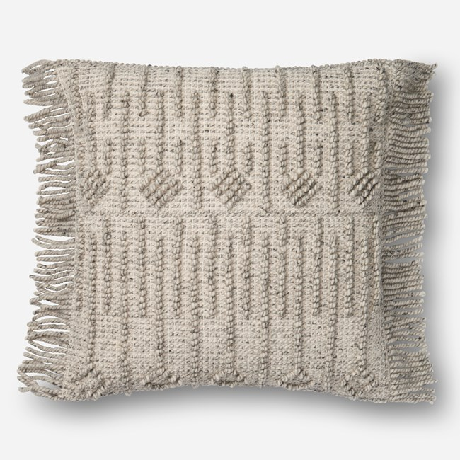 Accent Pillow-Magnolia Home Side Fringe Grey 22X22 By Joanna Gaines - 360
