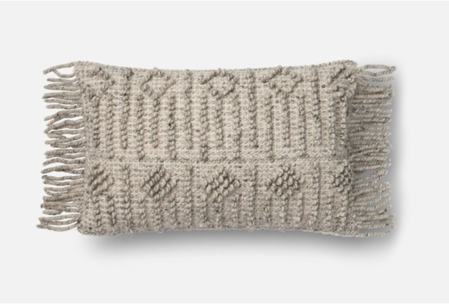 Accent Pillow-Magnolia Home Side Fringe Grey 13X21 By Joanna Gaines - 360