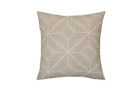 Outdoor Accent Pillow-Cross Hatch Grey 18X18