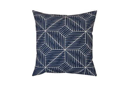Outdoor Accent Pillow-Cross Hatch Navy 18X18