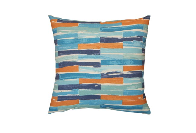 Outdoor Accent Pillow-Variated Stripe Blue/Orange 18X18 - 360