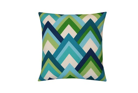 Outdoor Accent Pillow-Triangle Layers Blue/Green 18X18