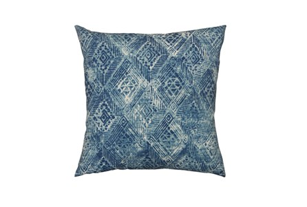 Outdoor Accent Pillow-Summer Ikat Indigo 18X18