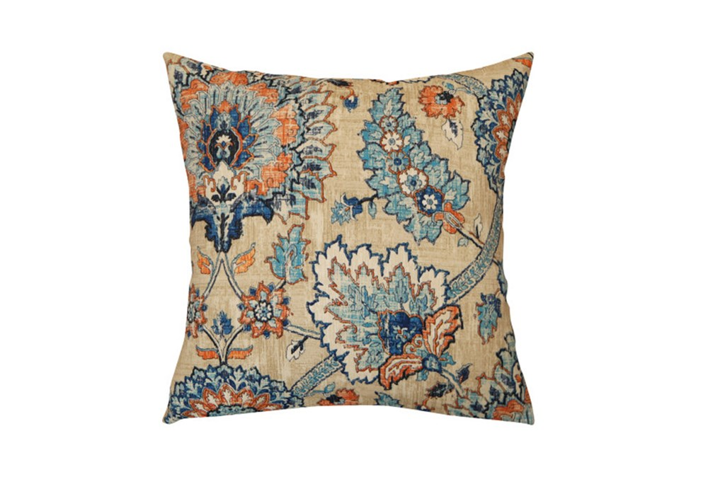 Outdoor Accent Pillow-Floral Damask Blue/Orange 18X18