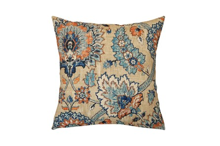 Outdoor Accent Pillow-Floral Damask Blue/Orange 18X18 - Main
