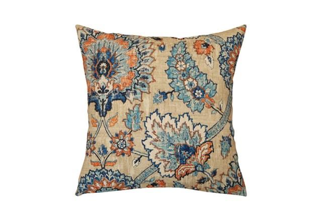 Outdoor Accent Pillow-Floral Damask Blue/Orange 18X18 - 360