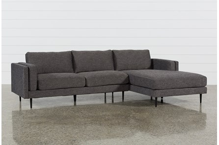 Aquarius Dark Grey 2 Piece Sectional with Right Arm Facing Chaise