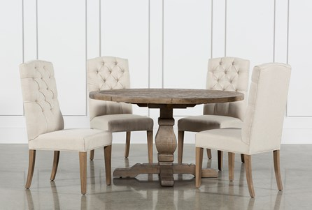 Caden 5 Piece Round Dining Set With Upholstered Side Chairs