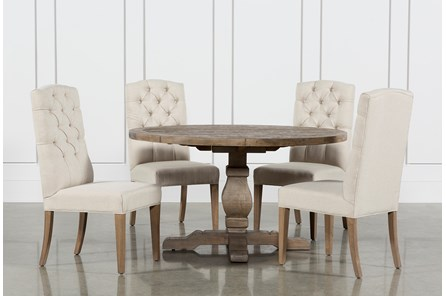 Caden 5 Piece Round Dining Set With Upholstered Side Chairs - Main
