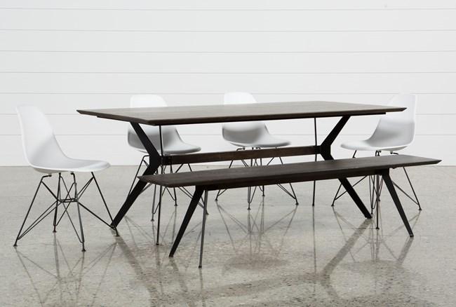 Weaver Dark 6 Piece Dining Set With Alexa White Side Chairs - 360