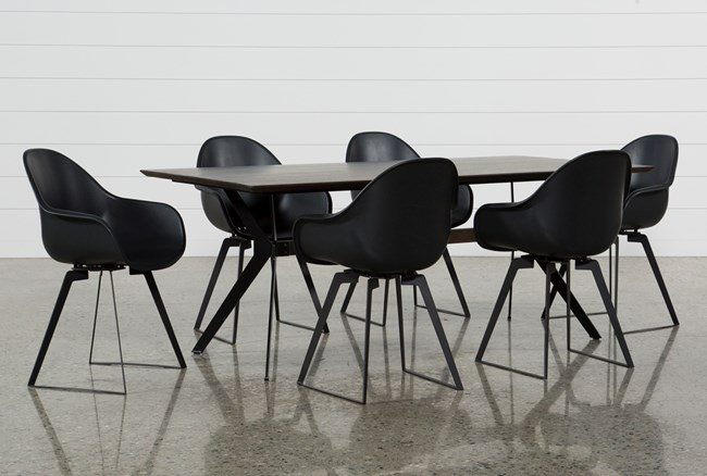 Weaver Dark 7 Piece Dining Set With Alvin Arm Chairs - 360