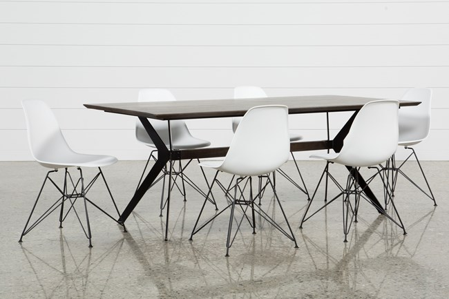 Weaver Dark 7 Piece Dining Set With Alexa White Side Chairs - 360