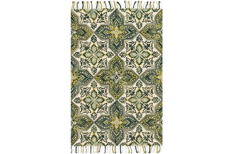 93X117 Rug-Magnolia Home Brushstroke Ivory/Emerald By Joanna Gaines