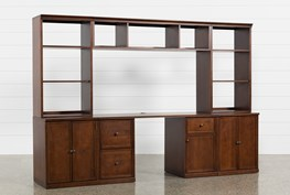 Hanford 4 Piece Office Desk With Double Cabinet Base