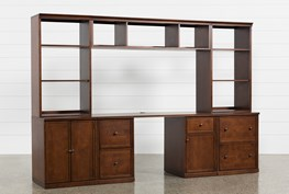 Hanford 4 Piece Office Desk With Cabinet And File Base