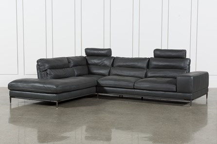 Tenny Dark Grey 2 Piece Left Facing Chaise Sectional W/2 Headrest