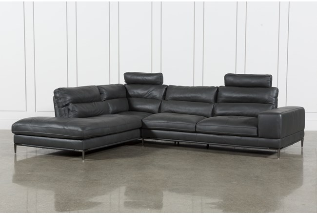 Tenny Dark Grey 2 Piece Laf Chaise Sectional W/2 Headrest | Living ...