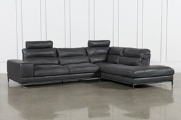 Tenny Dark Grey 2 Piece Right Facing Chaise Sectional W/2 Headrest