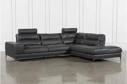 Tenny Dark Grey 2 Piece Raf Chaise Sectional W/2 Headrest | Living ...