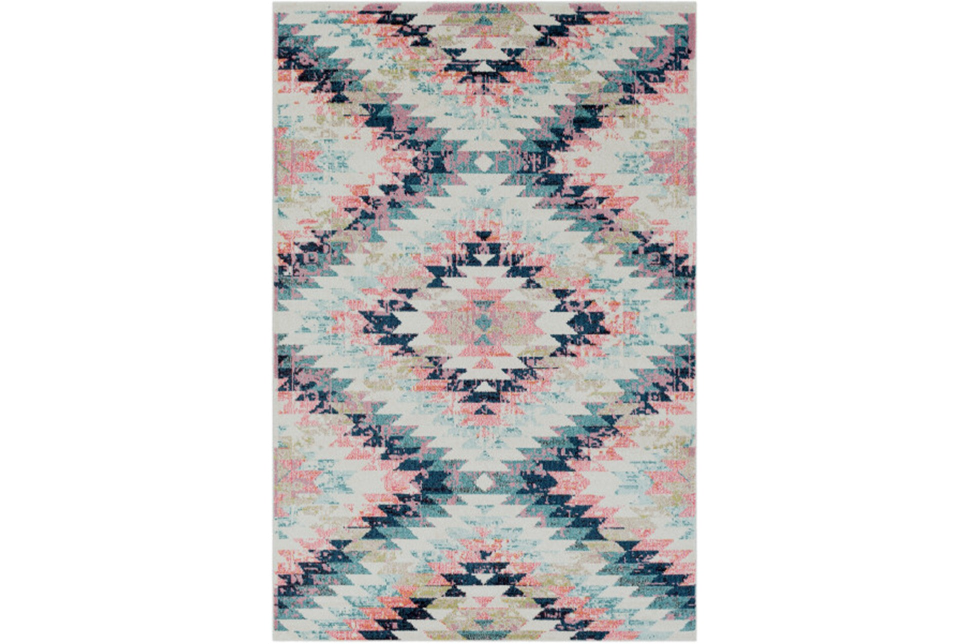 63x87 Youth Rug Wonderland Aztec Pink Blue Living Spaces