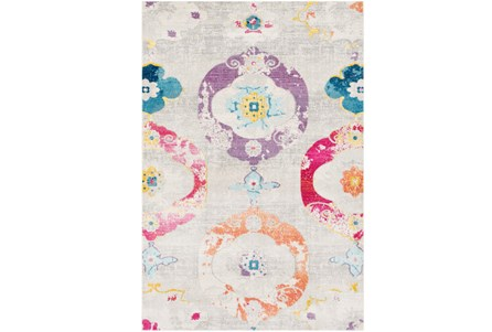 63X90 Youth Rug-Whimsy Flowers Multi