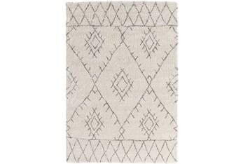 "5'3""x7'6"" Youth Rug-Ivory/Grey Pattern Shag"