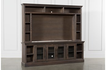 "Wakefield 97"" 2 Piece Wall Entertainment Center With Glass Doors"
