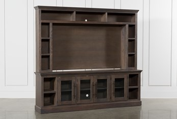 """Wakefield 97"""" 2 Piece Wall Entertainment Center With Glass Doors"""