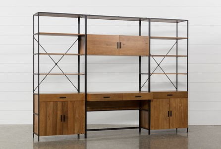 Hollis 3 Piece Desk With 33 Inch Cabinet Piers