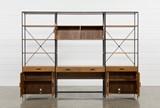 Hollis 3 Piece Desk With 33 Inch Cabinet Piers - Storage