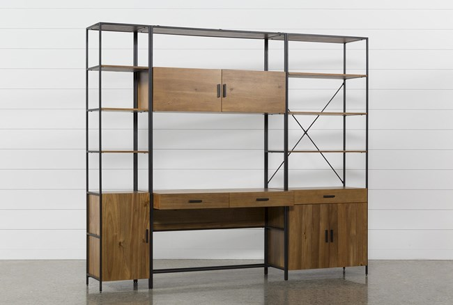 Hollis 3 Piece Desk With Wide + Narrow Cabinet Piers - 360