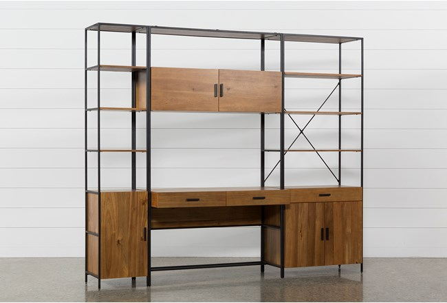 Hollis 3 Piece Desk With Wide + Narrow Cabinet Piers - 360