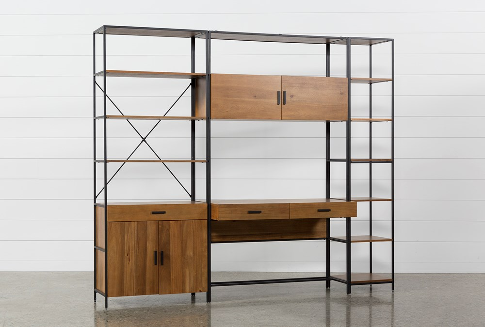 Hollis 3 Piece Desk With 33 Inch Cabinet & 17 Inch Bookcase Pier