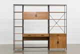 Hollis 3 Piece Desk With 33 Inch Cabinet & 17 Inch Bookcase Pier - Front