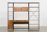 Hollis 3 Piece Desk With 17 Inch Cabinet & 33 Inch Bookcase Pier - Front