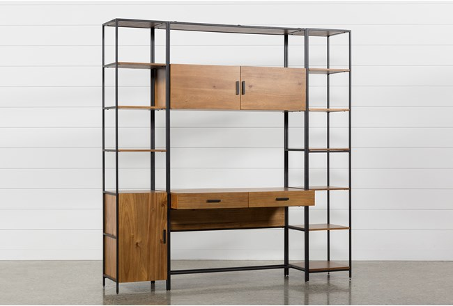 Hollis 3 Piece Desk With Narrow Cabinet Pier + Narrow Bookcase Pier - 360