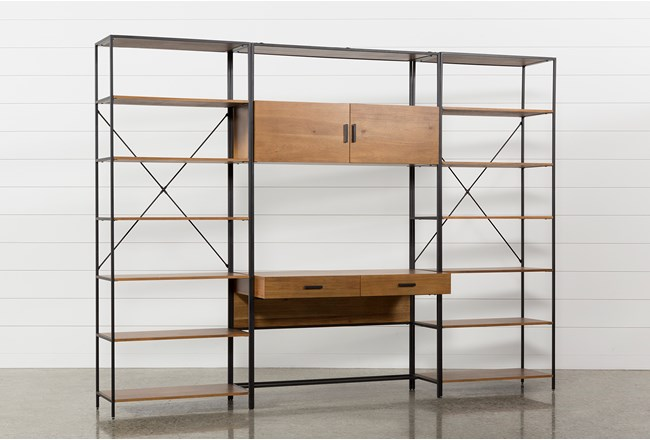 Hollis 3 Piece Desk With 33 Inch Bookcase Piers - 360